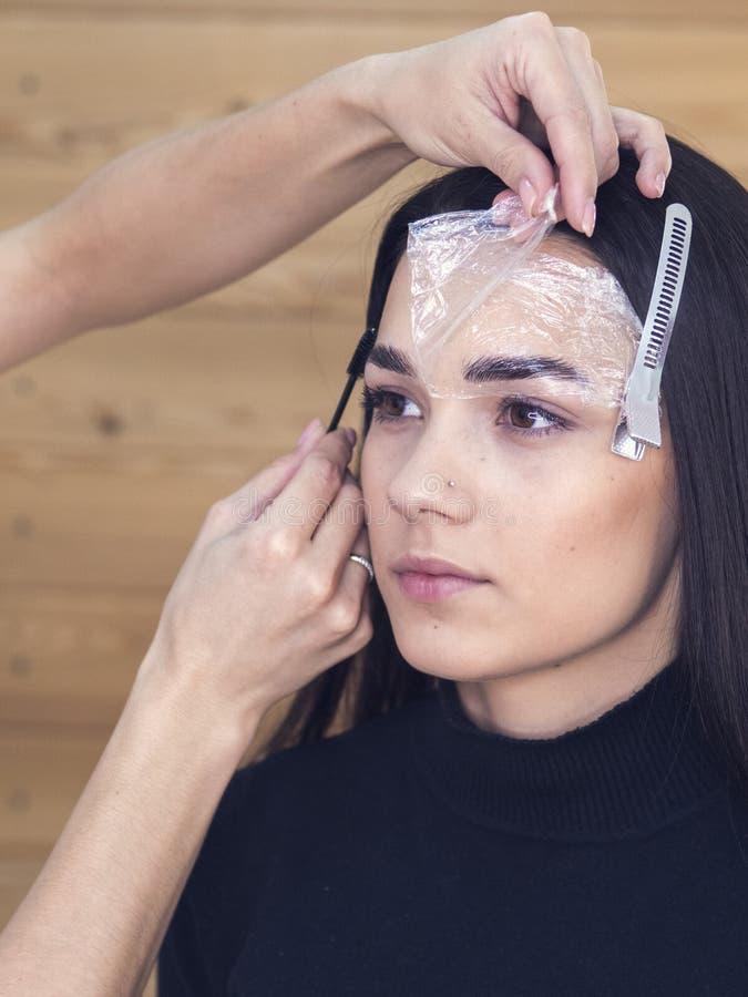 W piękno salonie robi makeup Mistrz i klient , piękno stylisty brwi kształtować obraz royalty free