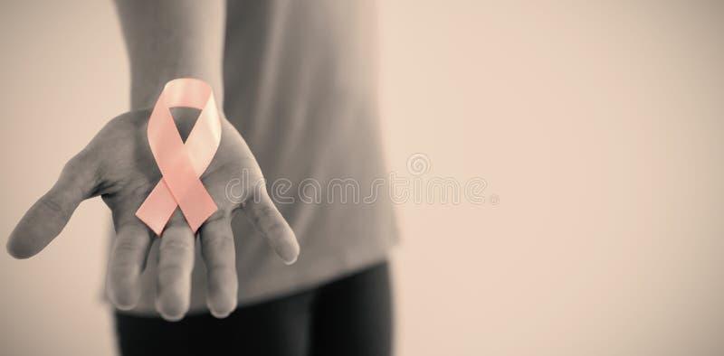 W połowie sekcja kobiety mienia menchii nowotworu piersi świadomości faborek obraz royalty free
