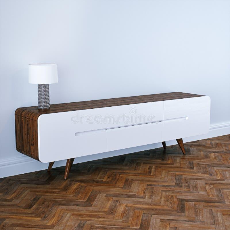 W połowie wieka tv nowożytny drewniany stojak w białym klasycznym wnętrzu royalty ilustracja