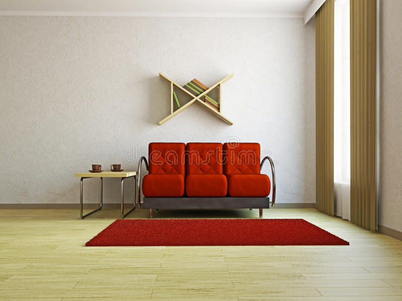 W pokój dzienny czerwona kanapa ilustracji