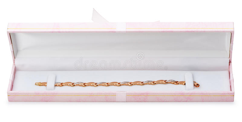 W prezenta kocowaniu złocista bransoletka obrazy stock