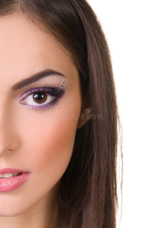 W purpurach fachowy makijaż obraz stock
