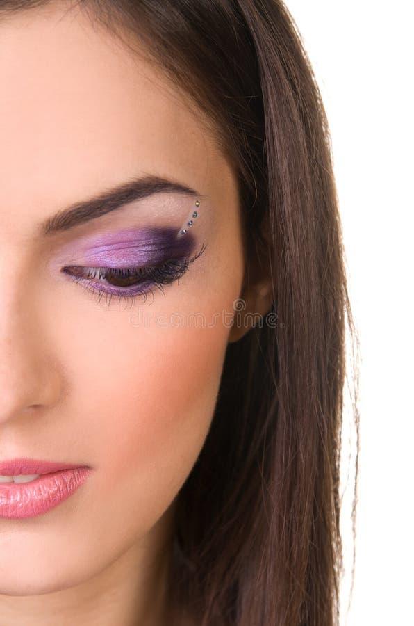 W purpurach fachowy makijaż obrazy royalty free