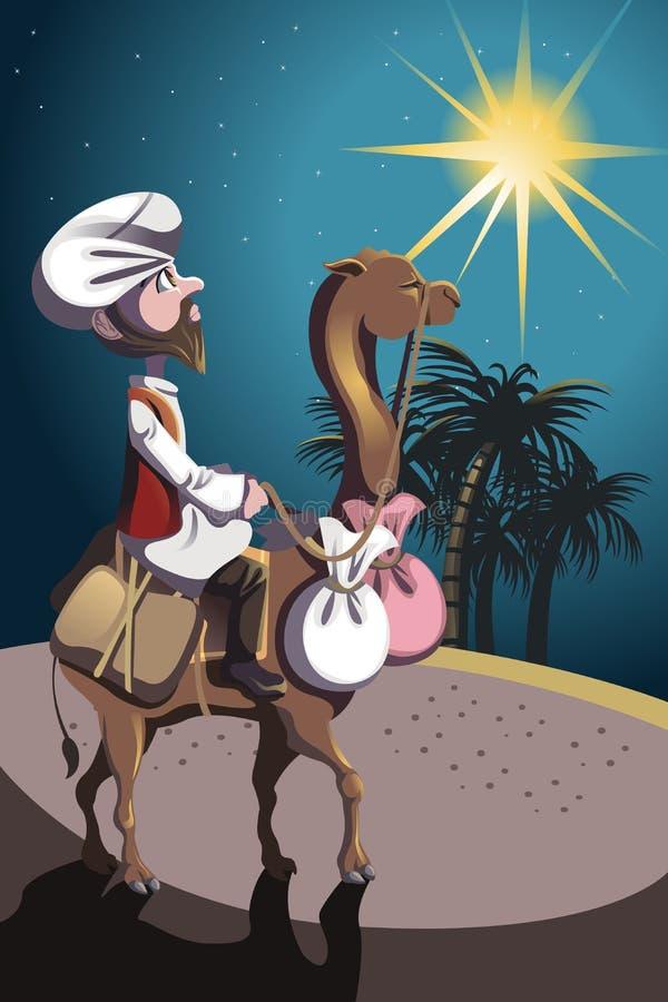 W pustyni jeździecki wielbłąd ilustracja wektor