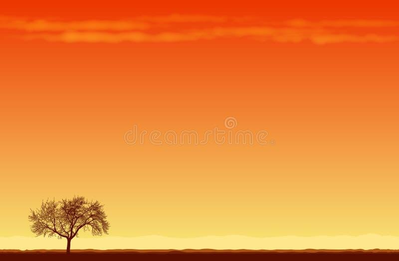 W Pustyni samotny Drzewo royalty ilustracja