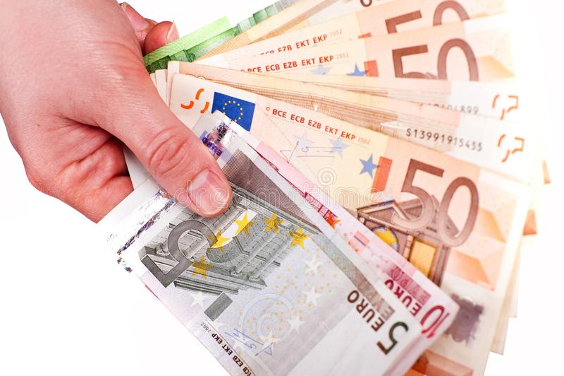 W Ręce euro Gotówka obrazy royalty free