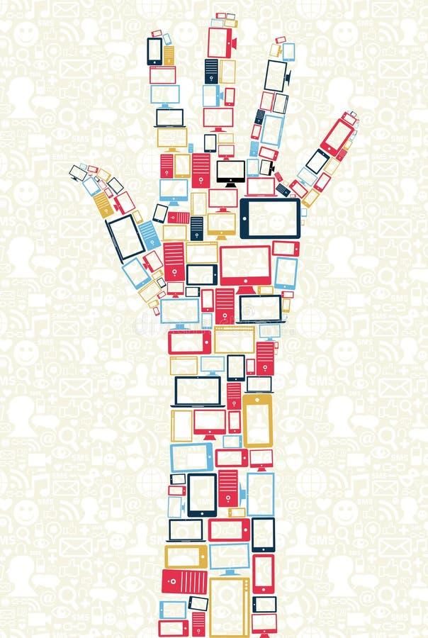 W ręce gadżet ogólnospołeczne medialne ikony kształtują pojęcie ilustracja wektor