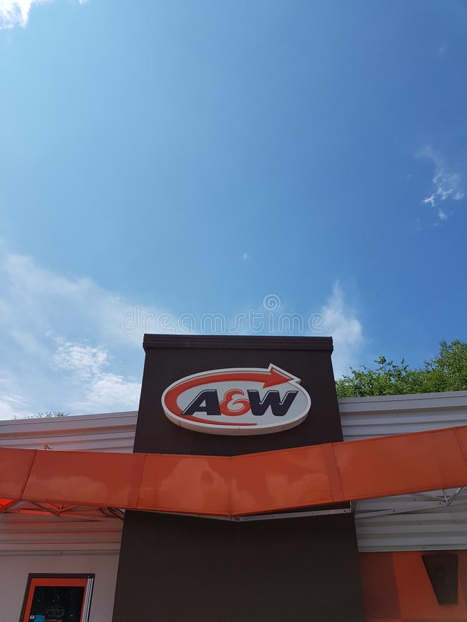 A&W Restaurant Sign Front royalty free stock images