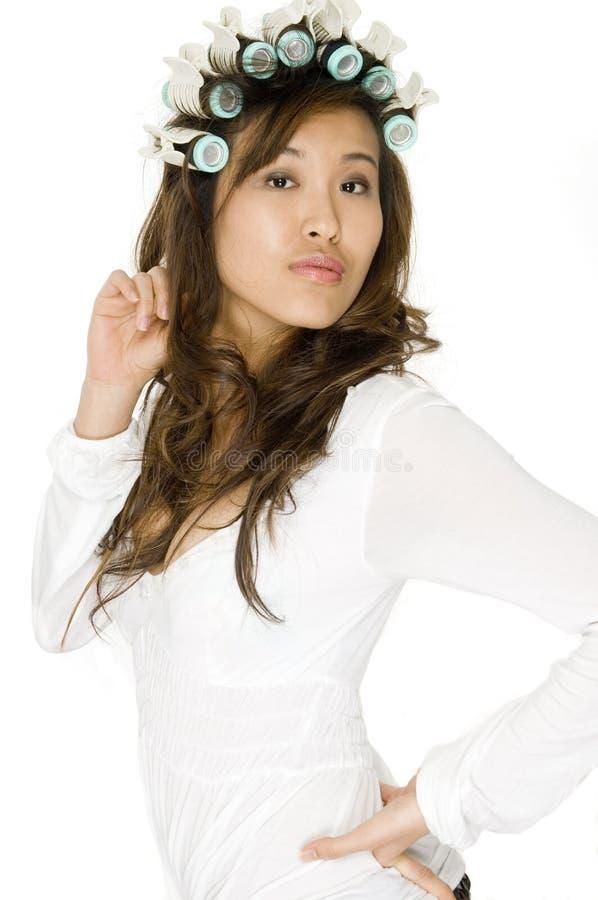 W Rolownikach azjatycka Kobieta zdjęcie royalty free
