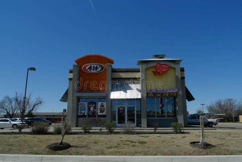 A&W Root Beer and Long John Silvers fast food restaurant royalty free stock photos