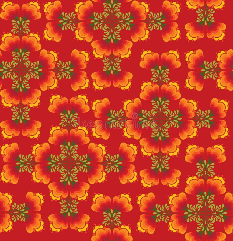 W rosjanina stylu tekstura bezszwowi kwiaty ilustracja wektor