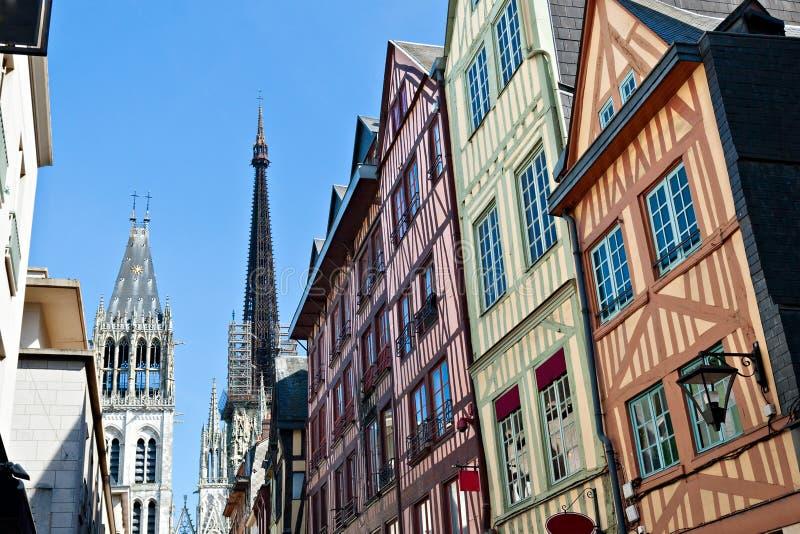 w Rouen ryglowi Domy fotografia royalty free