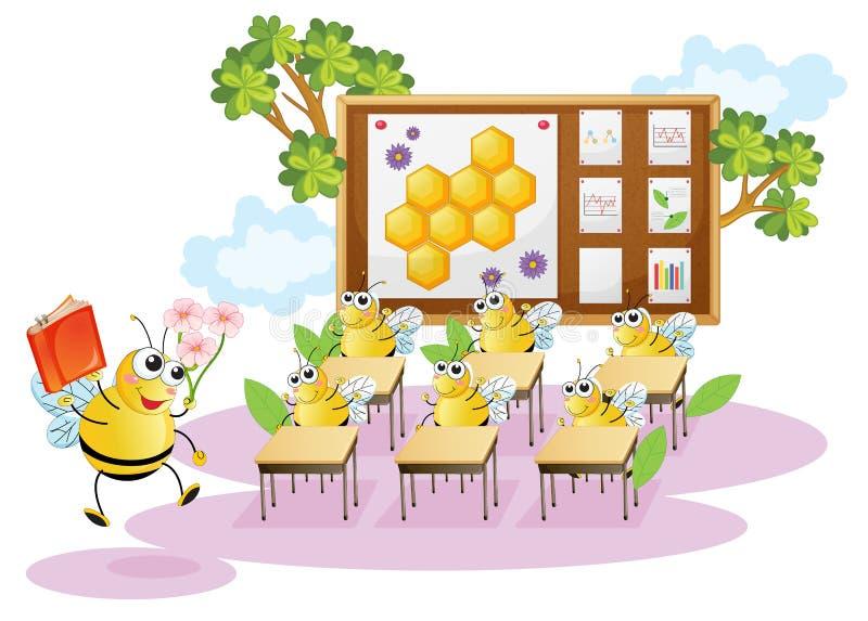 W sala lekcyjnej miodowe pszczoły royalty ilustracja