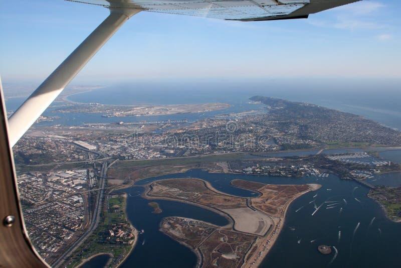 w San Diego bay skrzydłami fotografia stock