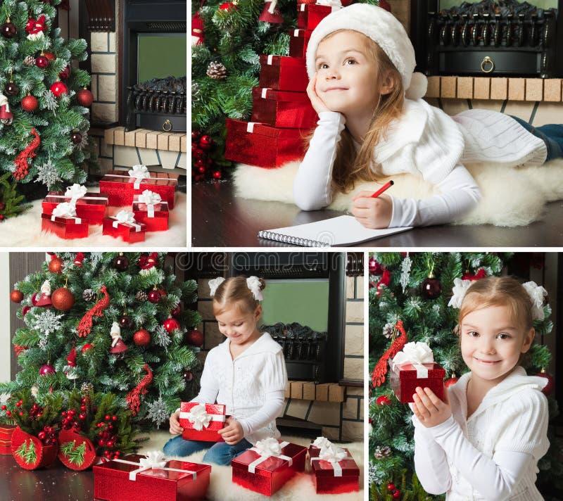 W Santa kapeluszu śmieszna dziewczyna pisze liście Santa Boże Narodzenie sen zdjęcia stock