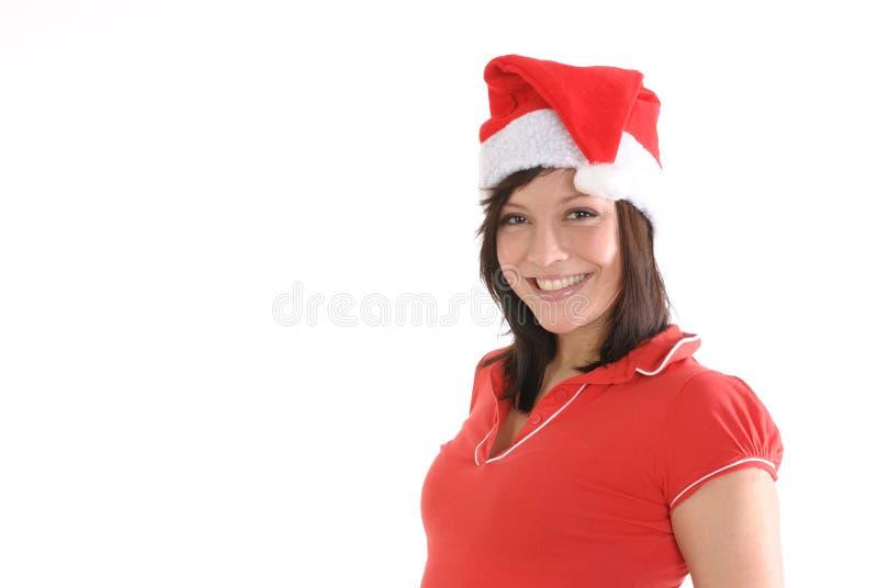 W Santa Nakrętce uśmiechnięta Kobieta obraz royalty free