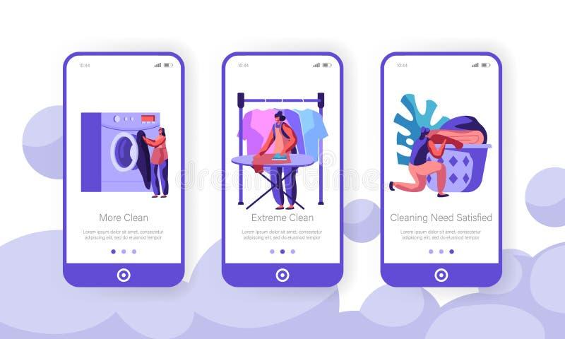 W?schereikonzept Frau, die schmutzige Kleidung zur Waschmaschine, Bügeln, sauberes Leinen zum Korb legend lädt, bewegliche App-Se stock abbildung