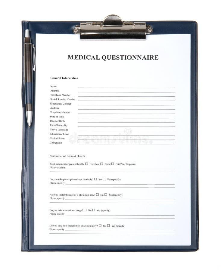 W schowku kwestionariuszu medyczny dokument obraz royalty free