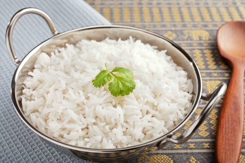 W Stalowym Karahi Rice zdjęcie stock