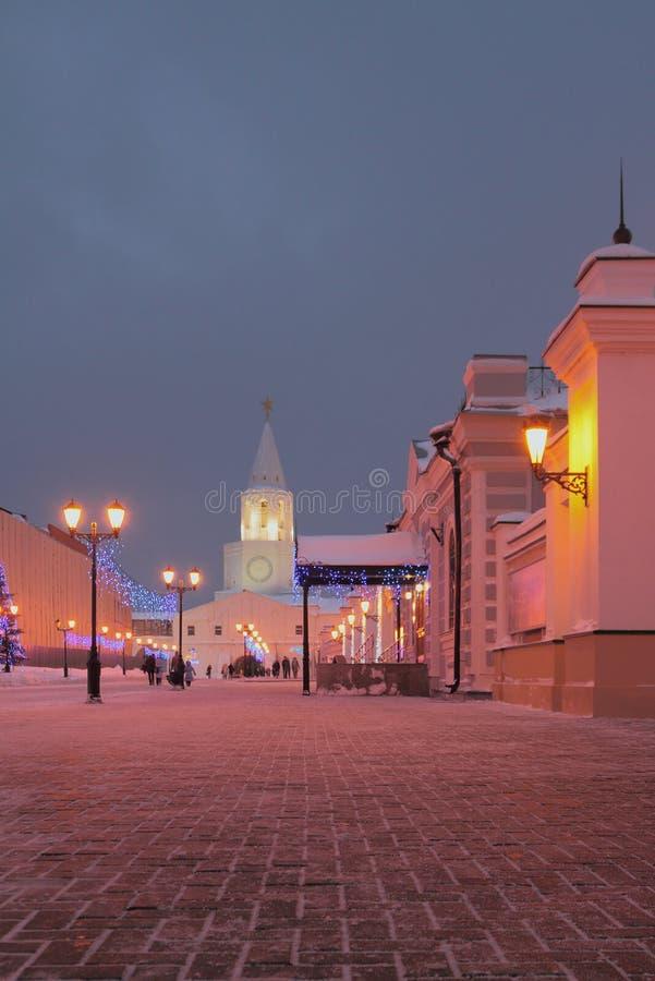 W Stycznia wieczór na Sheynkman ulicie kazan Russia obraz stock