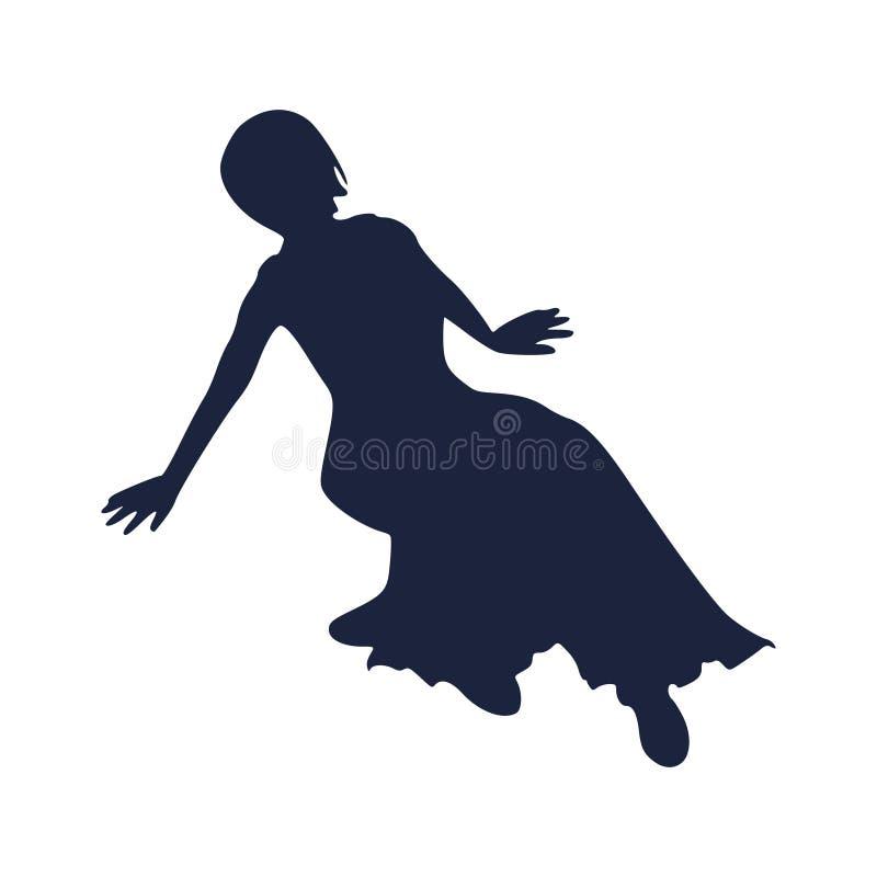 W sukni kobiety sylwetka ilustracja wektor