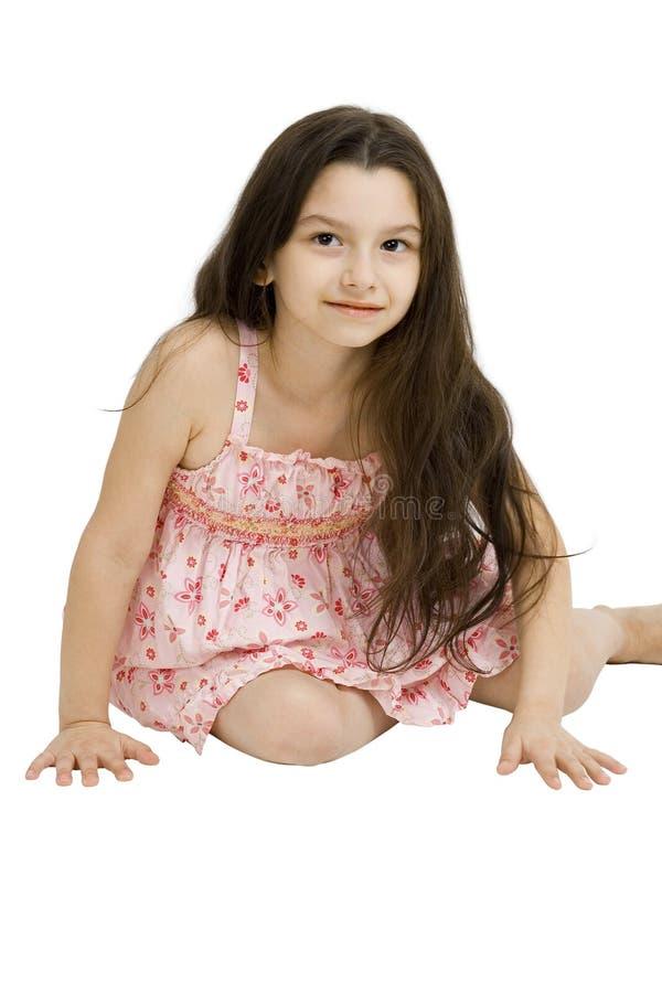W sukni szczęśliwa młoda dziewczyna fotografia stock