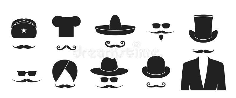 W?sy logo kapelusz Odosobniony wąsy na białym tle broda ilustracja wektor