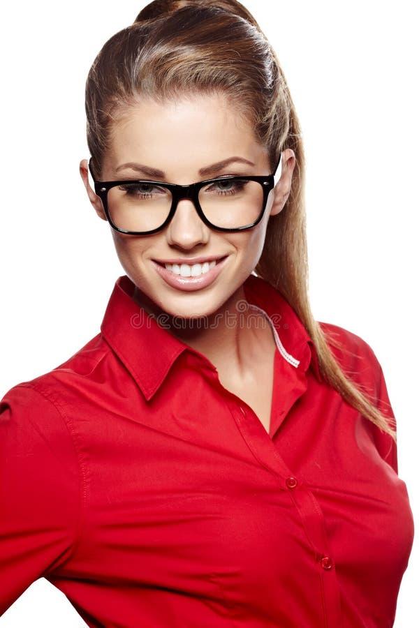 W szkłach biznesowa kobieta zdjęcie stock