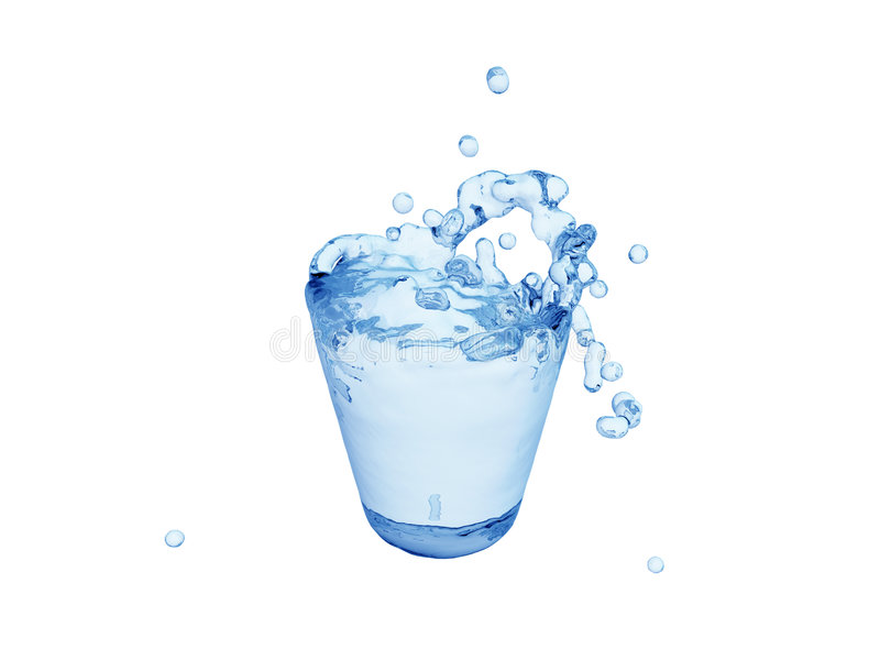 W szkle błękitne wody chełbotanie ilustracja wektor