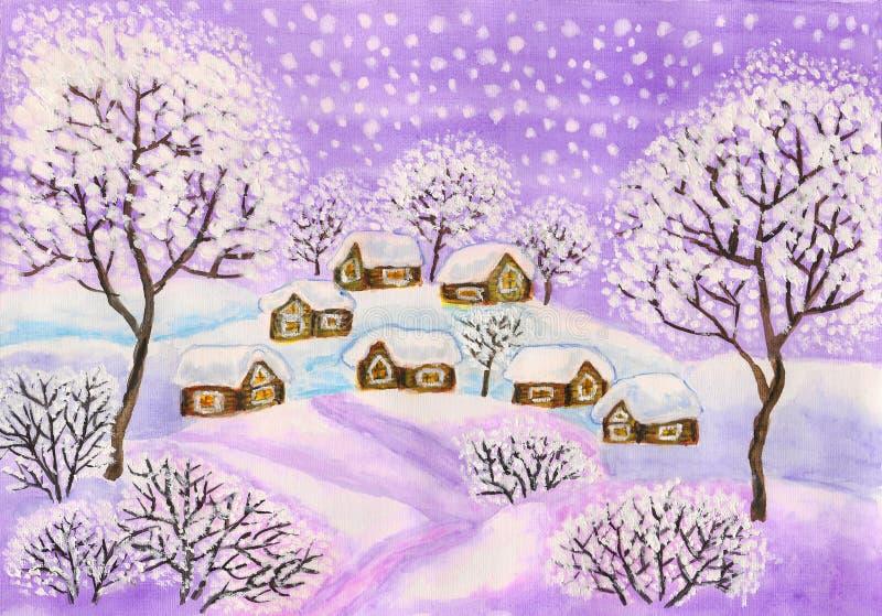 W target744_1_ purpurowych colours zima krajobraz, ilustracja wektor