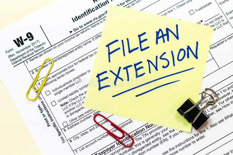 W9 Tax File Extension Concept Editorial Photography Image Of