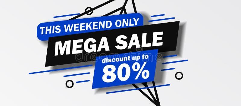 W ten weekend tylko Mega sprzedaż sztandaru rabat do 80% daleko z błękitem i czerń kolorem royalty ilustracja