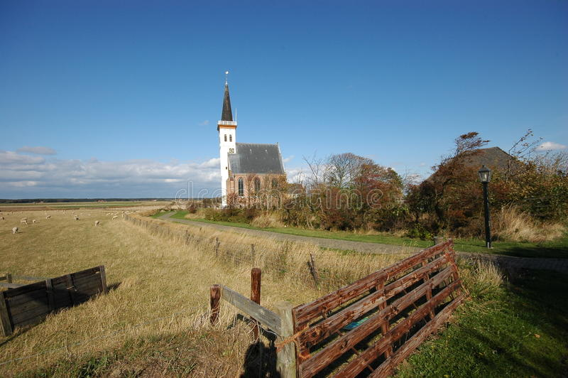 W Texel Holandiach Biały Litte Kościół obrazy stock