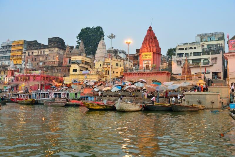 W Varanasi hinduski Ghats zdjęcie royalty free