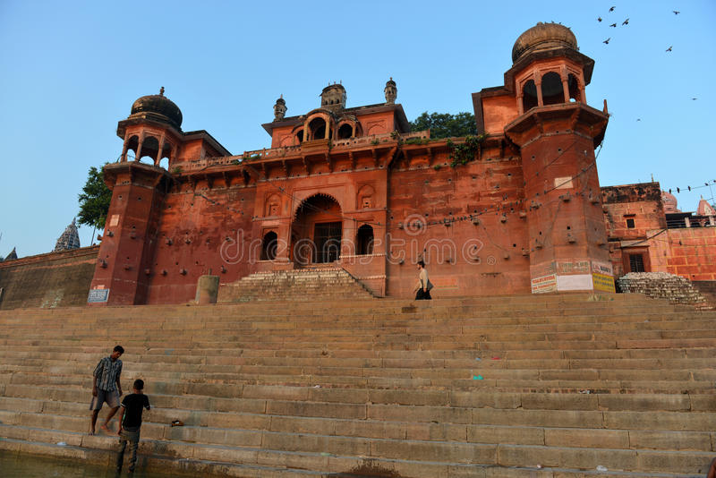 W Varanasi hinduski Ghats zdjęcia royalty free