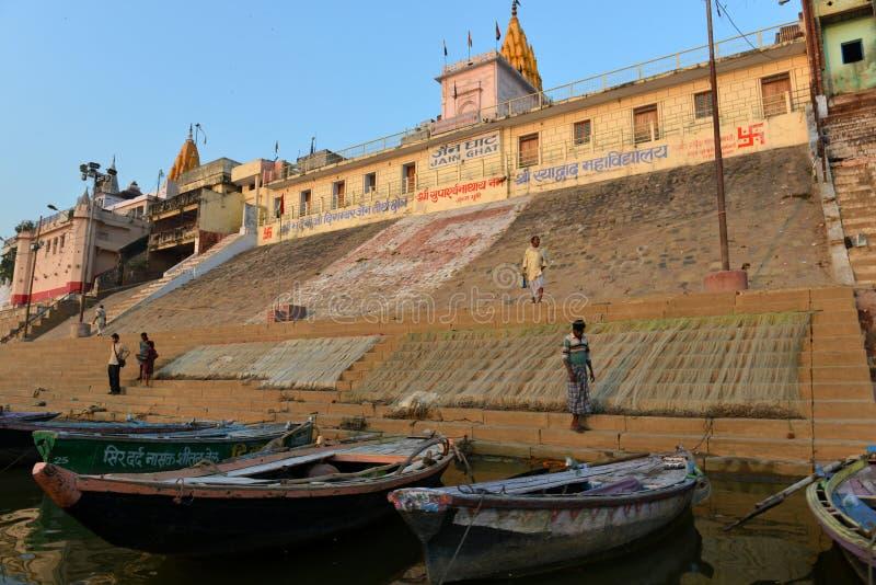W Varanasi hinduski Ghats zdjęcie stock