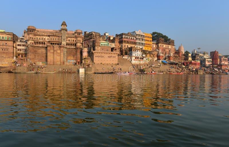 W Varanasi hinduski Ghats obrazy royalty free