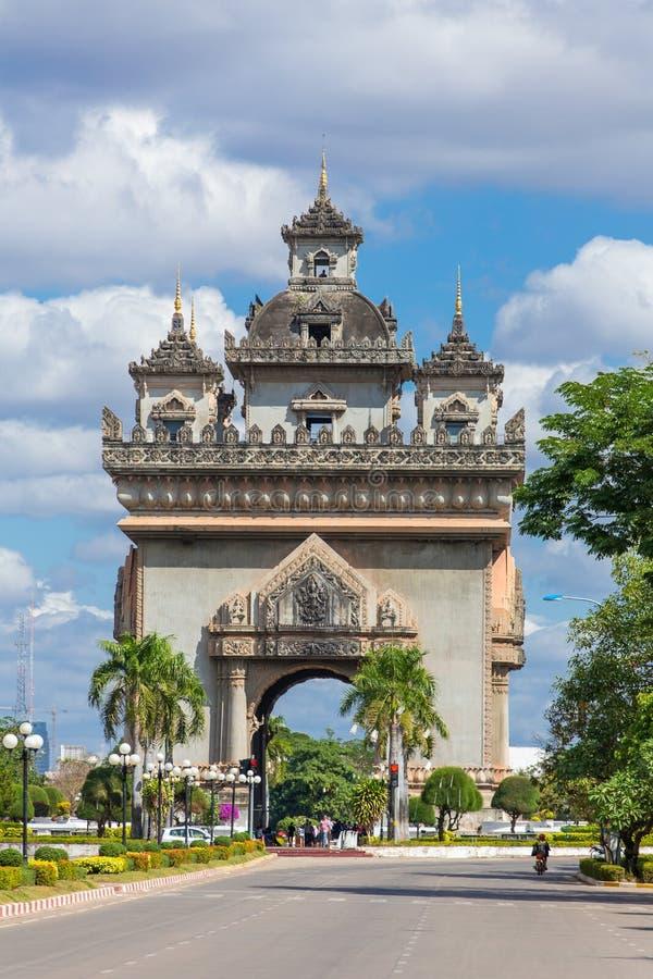 W Vientiane Patuxai zabytek zdjęcia stock