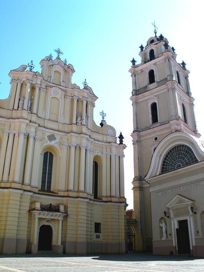 W Vilnius Uniwersytecie St Kościół John obrazy stock