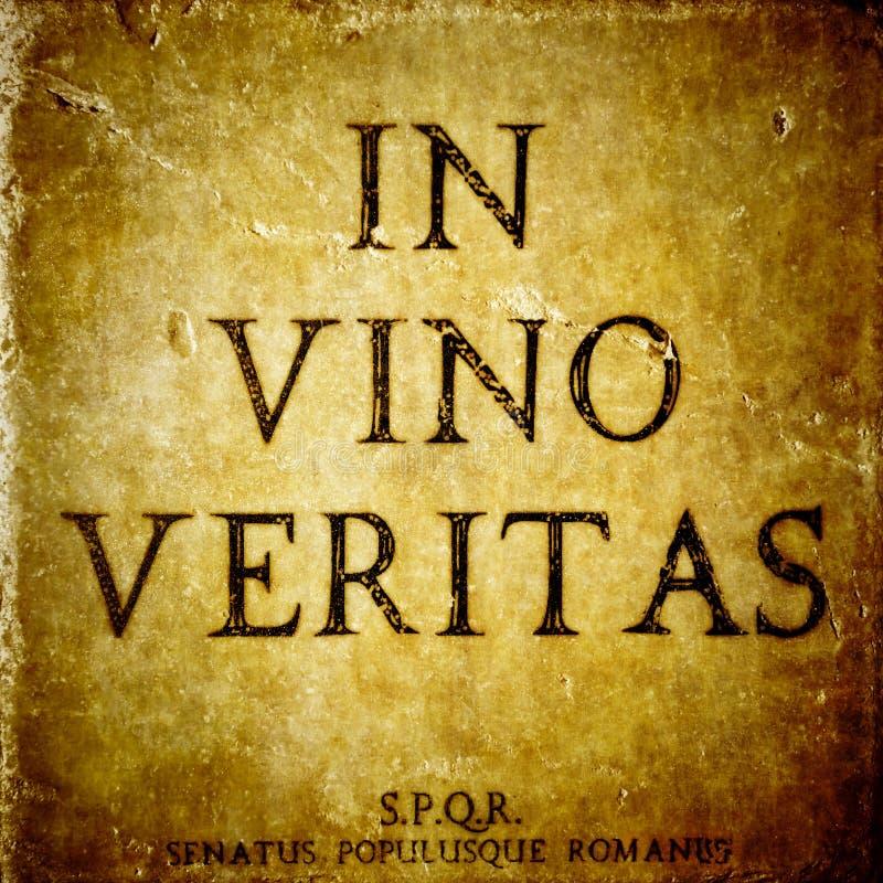 W vino veritas znaku fotografia royalty free