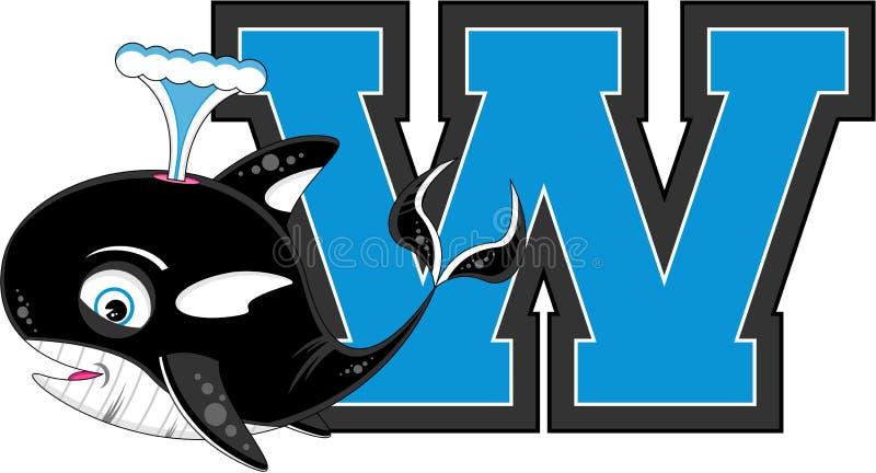 W is voor Walvis royalty-vrije illustratie