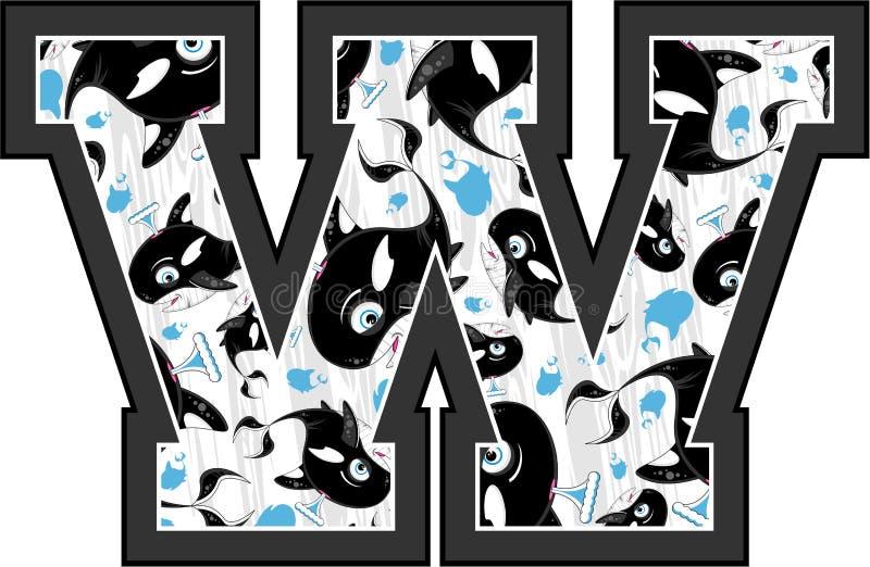 W is voor Walvis stock illustratie