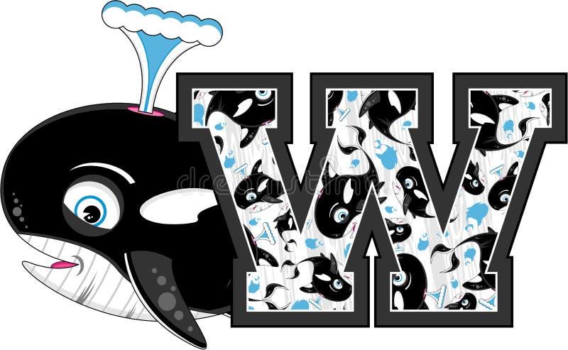 W is voor Walvis vector illustratie