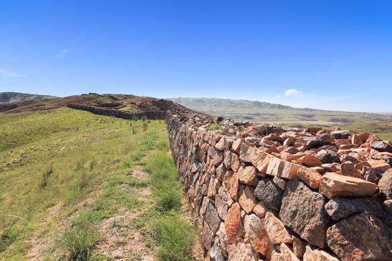 W wewnętrznym Mongolia wielki mur ruiny zdjęcie royalty free