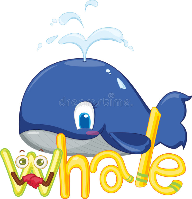 W for whale vector illustration