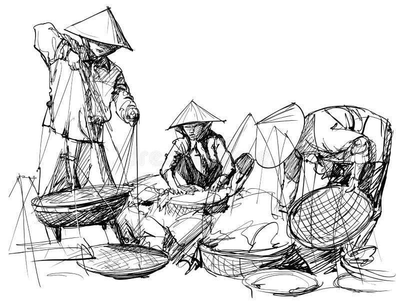 W Wietnam targowa sceneria royalty ilustracja