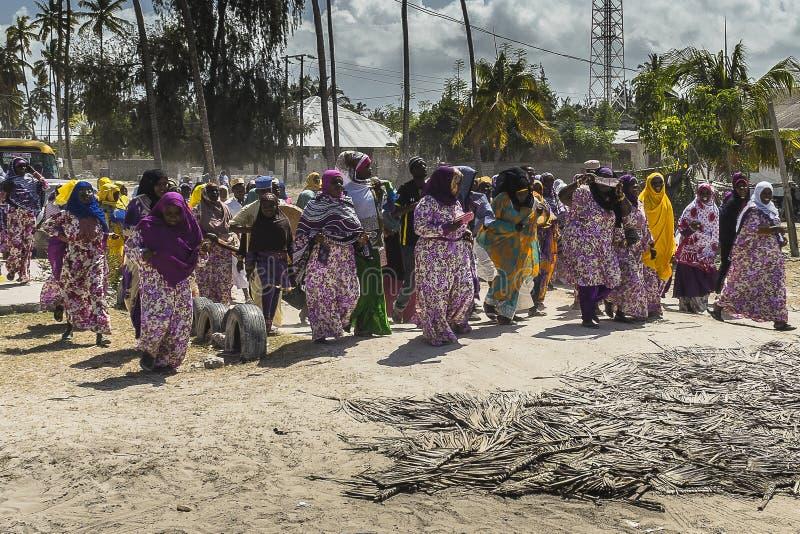 w wiosce Muslim´s ślub, Zanzibar zdjęcia royalty free