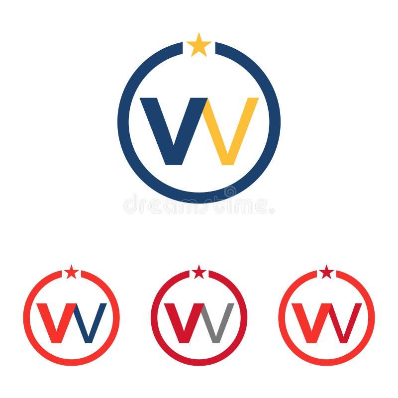 W - WV - stella Logo Symbol Template del cerchio di VW illustrazione di stock