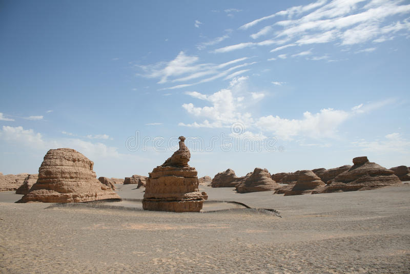 W yadan landform pawia unikalny kamień Dunhuang fotografia royalty free