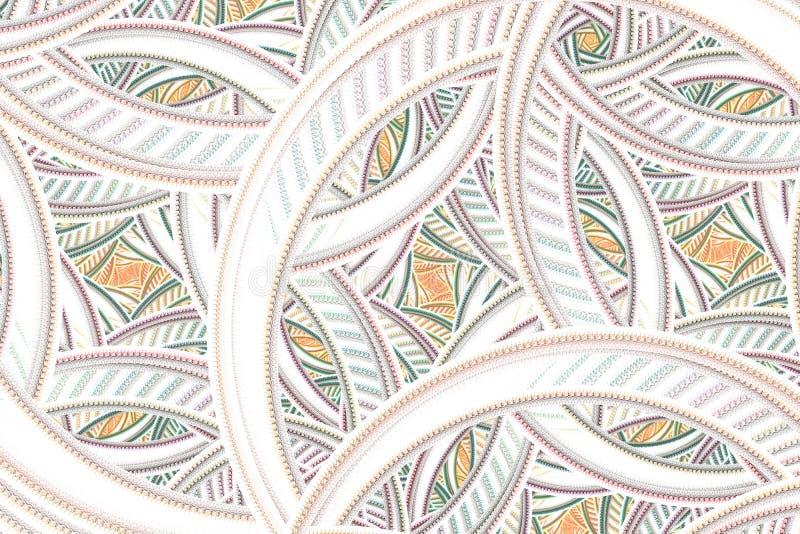 W zawiły sposób abstrakcjonistyczny fractal Kolorowy kwiecisty wzór z okręgami i krzywami ilustracja wektor